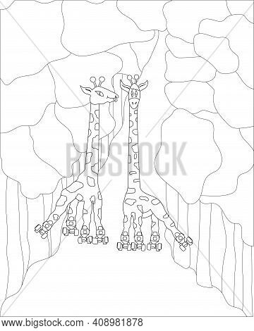 Funny Cartoon Roller-skating Giraffes In The Park Coloring Page. Children Illustration Animals Go In