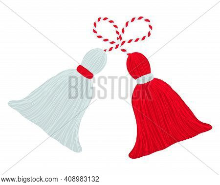 Bulgarian Traditional Martenitsa Red And White Design