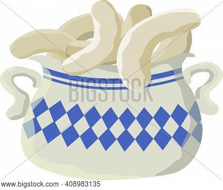 Bavarian Sausages In A Saucepan. Vector Illustration