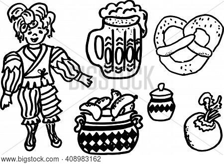 Set Oktoberfest . Bavarian Traditional Food. Vector Illustration In Doodle Style