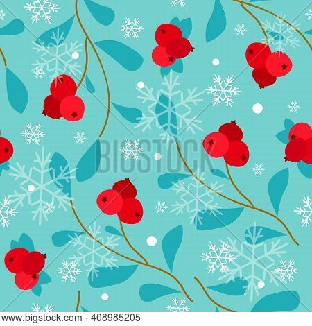 Seamless Pattern With Cranberry  And Snowflakes  On A Blue Background