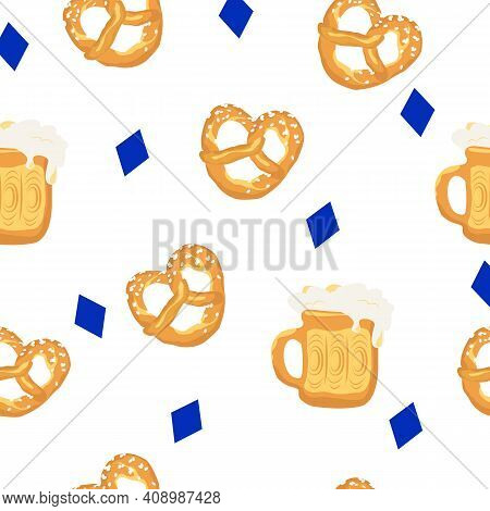 Seamless Pattern With Traditional Bavarian Pretzel And Beer.vector Illustration