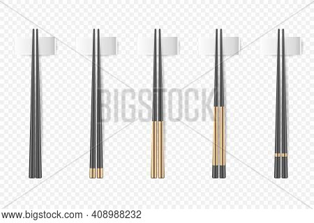 Vector 3d Realistic Black And Gold Chopsticks Set Closeup Isolated. Design Template Of Food Sticks,