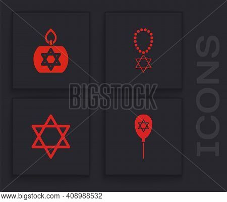 Set Balloon With Star Of David, Burning Candle, Star David Necklace Chain And Icon. Vector