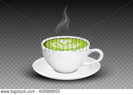 Vector 3d Realistic Ceramic White Coffee Mug, Cup, Saucer And Steam Smoke Closeup Isolated On Transp