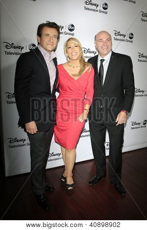 PASADENA - JAN 10: Robert Herjavec, Lori Greiner, Kevin O'Leary at the Disney ABC Television Group 2013 TCA Winter Press Tour at The Langham Huntington Hotel on January 10, 2013 in Pasadena, CA