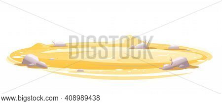 Empty Sandy Lawn With Stones Isolated, Summer Sunny Oval Glade, Sand Surface Glade Template, Unfrien
