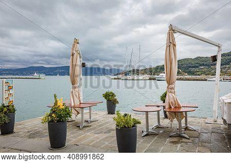 Porto Venere, Italy - October 2020: Closed Outdoor Restaurant On The Mediterranean Sea Coast In Old
