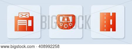 Set Gps Device With Map, Bicycle Repair Service And Lane. White Square Button. Vector