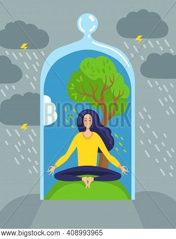 Illustration Of Woman In Lotus Pose Meditating Near A Tree Inside Glass Cover.