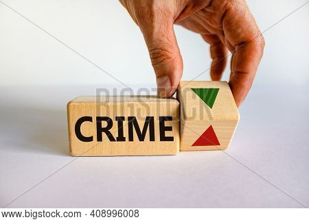 Crime Level Symbol. Wooden Cube With Word 'crime'. Businessman Turns The Wooden Cube, Changes The Di