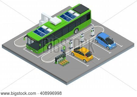 Isometric An Electric Bus, A Bus That Is Powered By Electricity. Ecological Public Transport