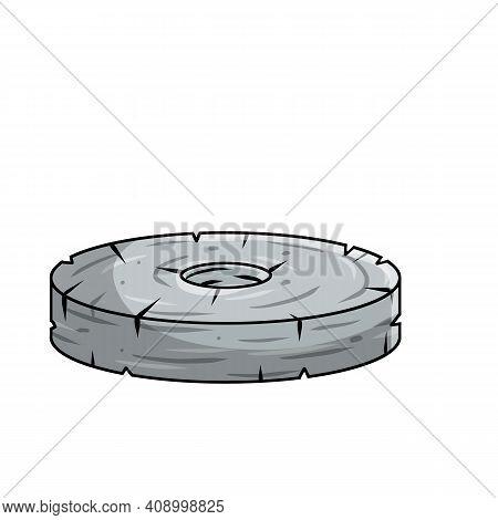 Stone Wheel. Invention Of Primitive Caveman. Symbol Of Progress. Old Heavy Object With Hole. Cartoon