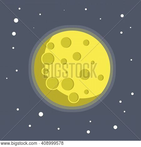 Moon In The Starry Sky. Astronomical Satellite Of The Earth. Craters And A Planet In Orbit. Blue Bac