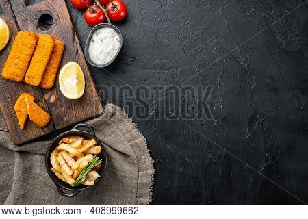 Fish Breadcrumbs Set, On Wooden Cutting Board, On Black Background, Top View Flat Lay , With Copyspa
