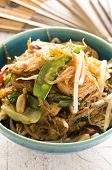 stir -fried noodles with beef and vegetables poster