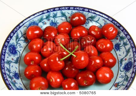 Cherries With Porcelain Tray