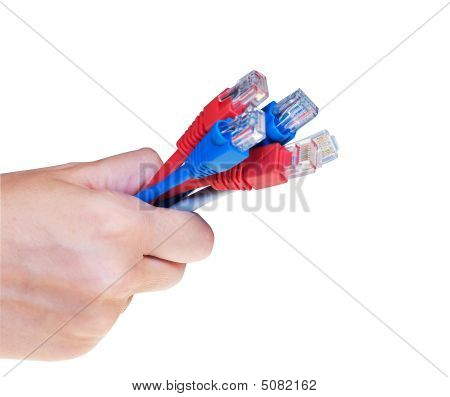 Hand Holding Net Cables