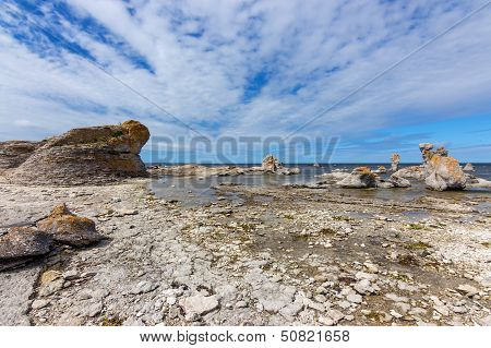 Rocky Coast With Limestone Cliffs In Sweden