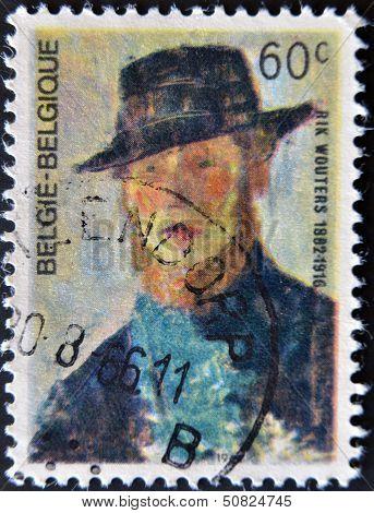 Belgium - Circa 1966: A Stamp Printed In Belgium Shows A Self Portrait Of Rik Wouters, Circa 1966
