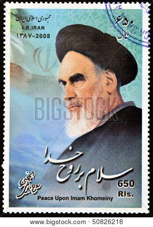 Iran - Circa 2008: A Stamp Printed In Iran Shows Khomeini, Circa 2008
