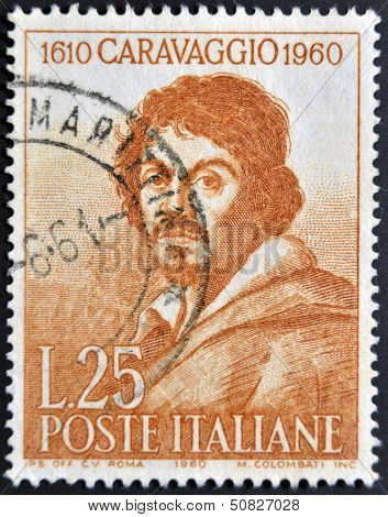 a stamp celebrates the third centenary of the death of Caravaggio showing an image of artist