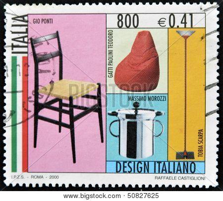 A stamp dedicated to Italian design shows Gio Ponti cats Pauline T. Massimo Moorizzi and T. Scarpa
