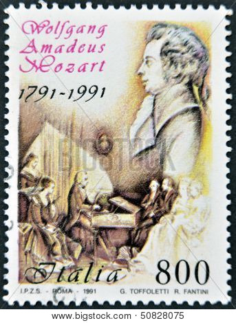 ITALY - CIRCA 1991: A stamp printed in Italy shows Wolfgang Amadeus Mozart circa 1991