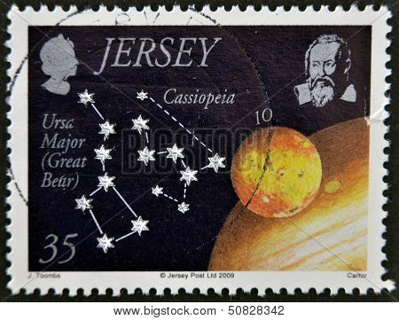 JERSEY - CIRCA 2009: A stamp printed in Jersey shows the ursa major and cassiopeia circa 2009