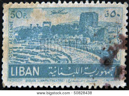 LEBANON - CIRCA 1930: A stamp printed in Lebanon shows Ancient Roman Theater at Byblos circa 1930
