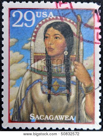 Stamp Show Sacagawea, Shoshone Woman Who Accompanied Lewis And William Clark
