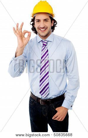Male Architect Showing Perfect Gesture