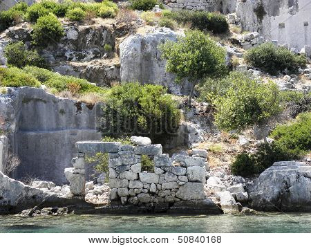 Remains of building carved into the rock.