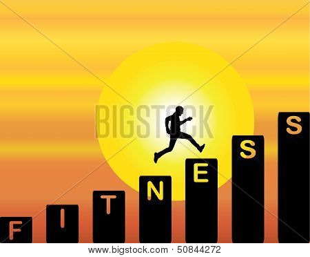 A Man Running Up The Stairs Which Are With The Text Fitness With Bright Orange Evening Sky & Sun