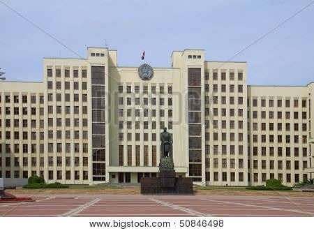 Parliament Building On The Independence Square In Minsk. Belarus