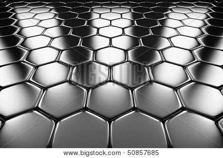 Metal Surface Of Steel Hexagons Perspective View
