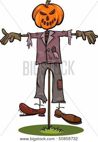 Halloween Scarecrow Cartoon Illustration