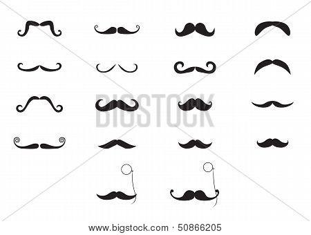 Vector moustache icon set