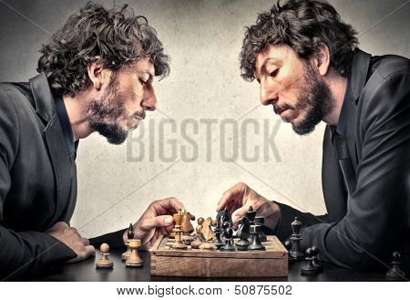 man plays chess against himself