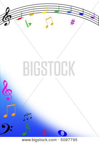 Music Letter Border with music symbols and an arch on a white background poster