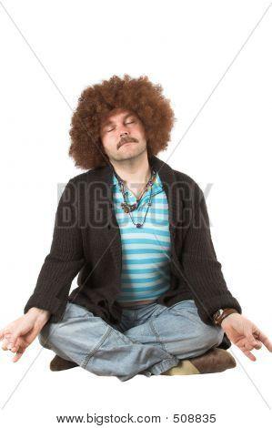 Overweight Hippie Meditating