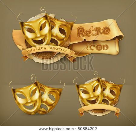 Gold theater masks, vector icon