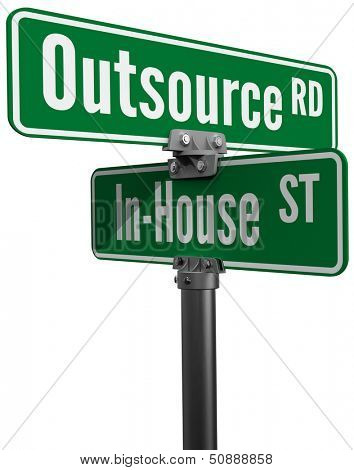 Street signs Outsource Road versus In House Street ERM supply chain business decision poster