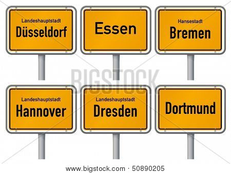 City limits signs of six major cities in Germany - Dusseldorf, Essen, Bremen, Hannover, Dresden and Dortmund - with realistic shading and official typeface and proportions. Part 2.