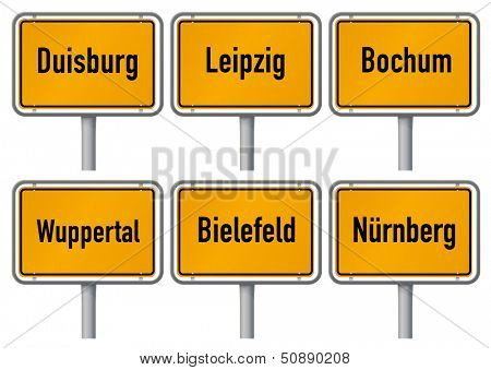 City limits signs of six major cities in Germany - Duisburg, Leipzig, Bochum, Wuppertal, Bielefeld and Nuremberg - with realistic shading and official typeface and proportions. Part 3.