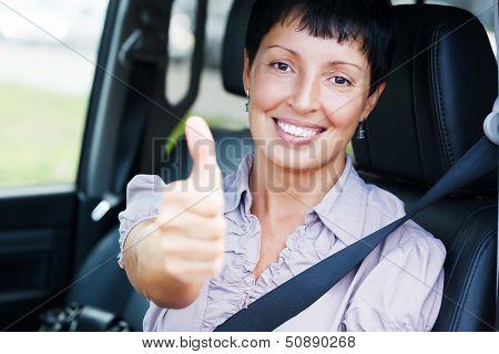 Smiling senior woman in a car.