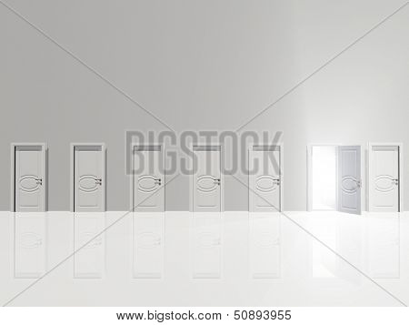 Sinigle open doo remits light  in huge white wall in white space
