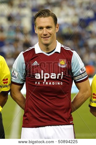 BARCELONA - SEPT, 5: Kevin Nolan of West Ham United posing before  a friendly match against RCD Espanyol at the Estadi Cornella on September 5, 2013 in Barcelona, Spain