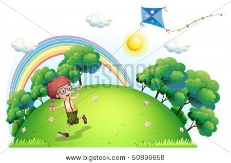 Illustration of a boy playing with his kite at the hilltop on a white background