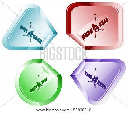 Spaceship. Vector sticker.